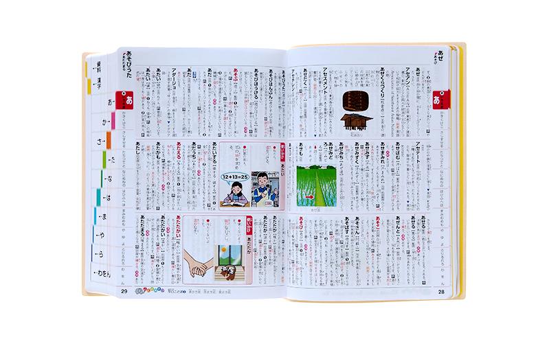 国語辞典の紙面。明るい発色で、楽しい気持ちで使える。上の欄外に余白があるから、メモを書いたり、付箋を貼ったりすることもできます。