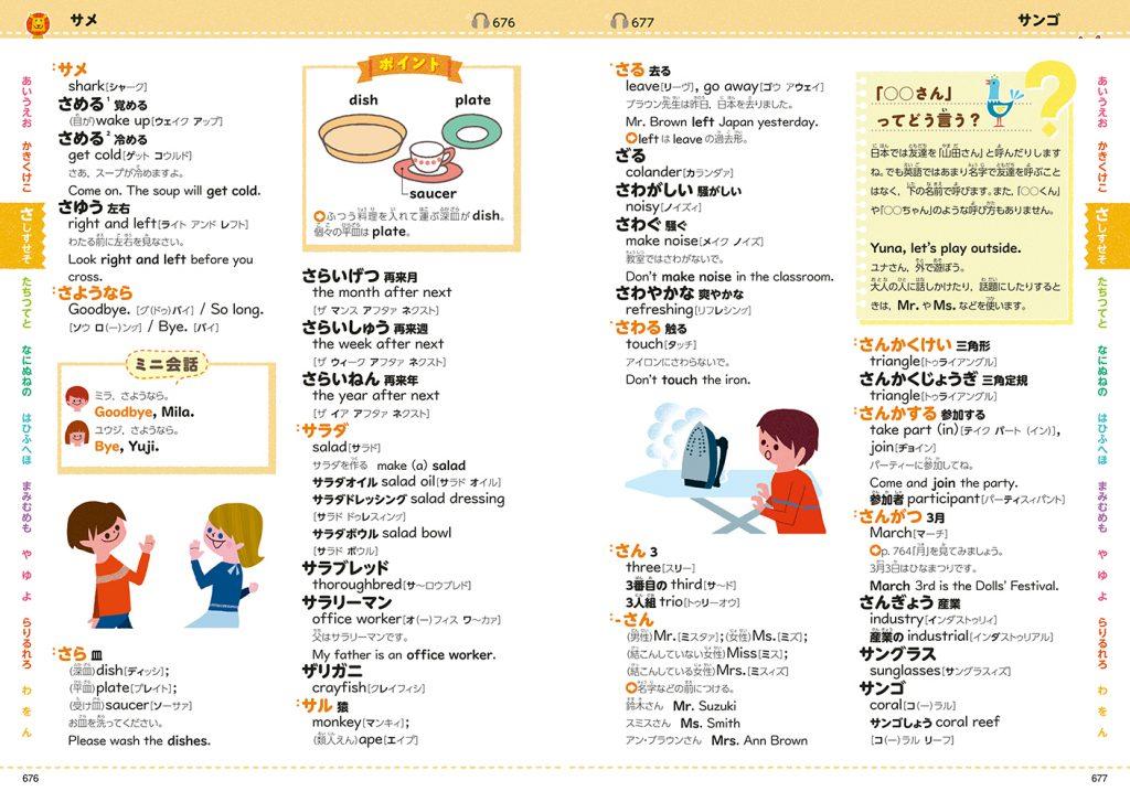 ▲和英辞典:「ポイント」「ミニ会話」などコラムが豊富。インデックスには50音がすべて入っているので安心
