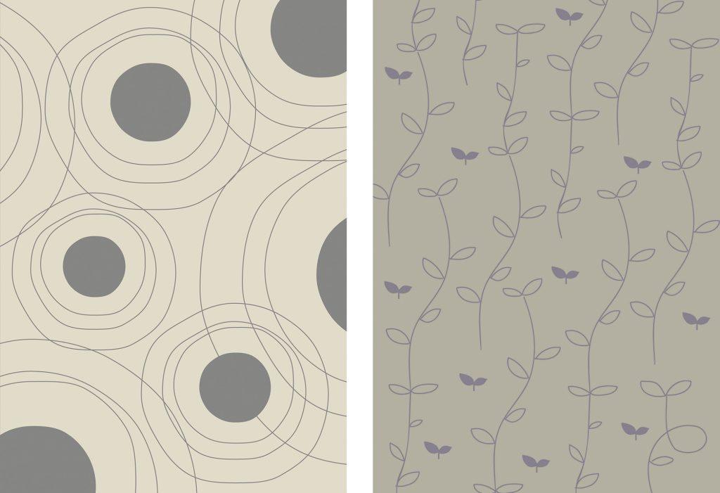 ▲カバーをはずすと、意外! 質感のある紙にシックな色の表紙デザイン。左が『マタニティ』、右が『ベビーケア』の表紙。幅広い年齢性別にフィットするデザインに、赤ちゃんに関わるすべての人を応援したい気持ちをこめました。
