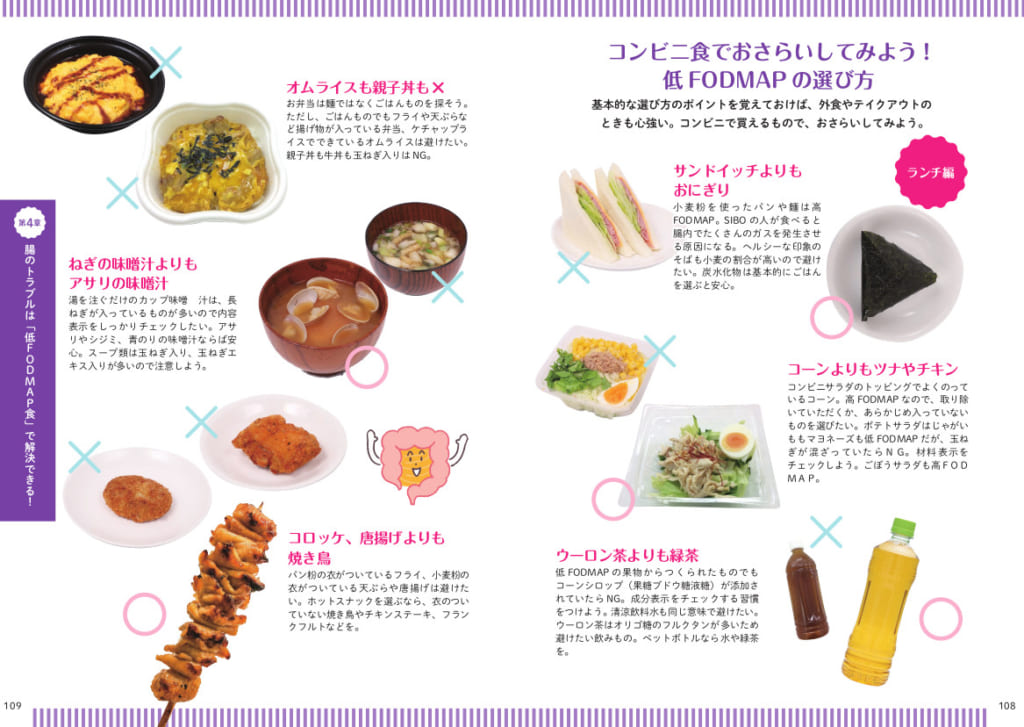 メニューとしてのFODMAP度も、コンビニ食を例に紹介しています。近いメニューに当てはめれば、1日の食事のおおまかな判断基準として使えます。