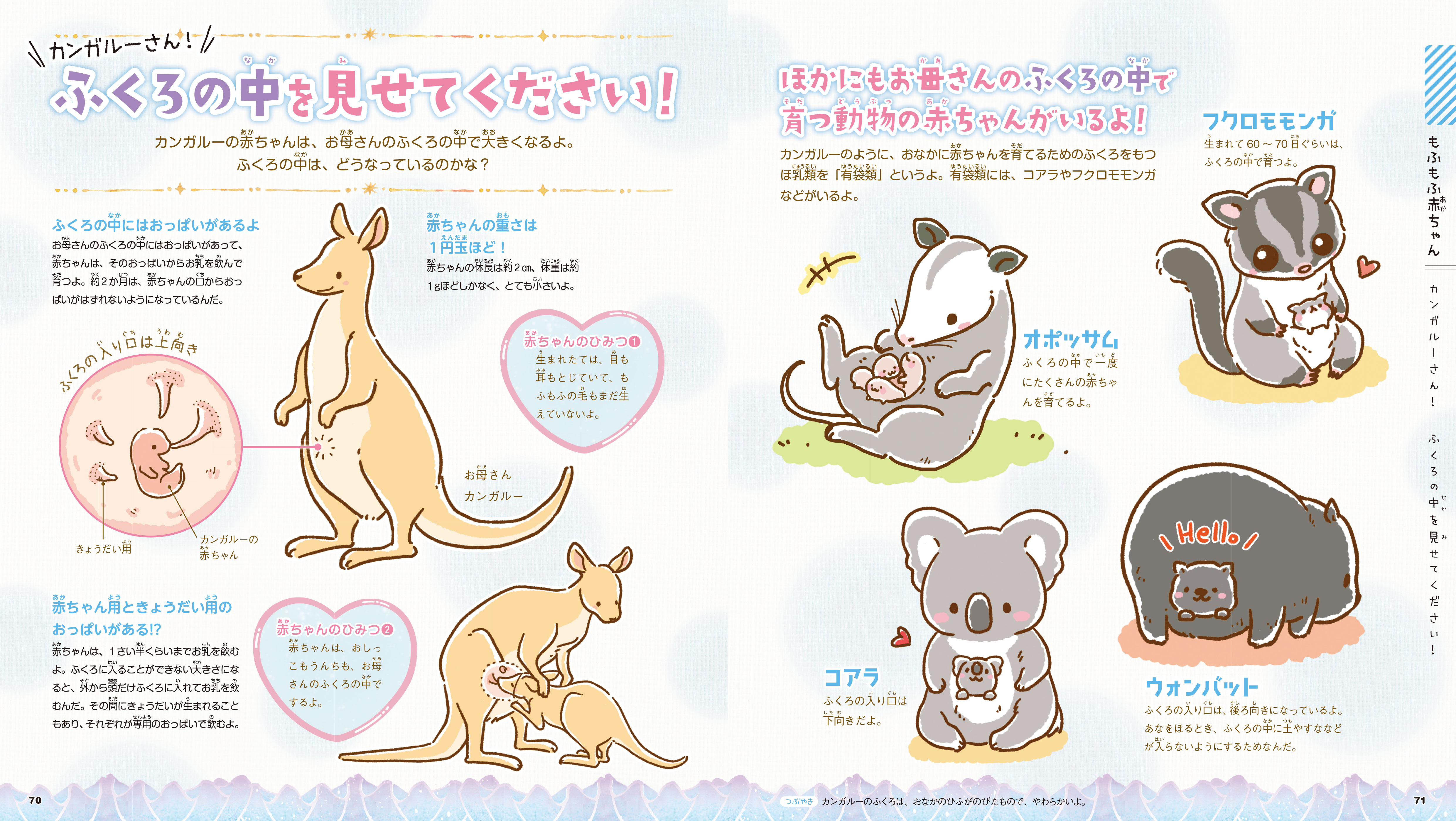 「お母さんのふくろの中で育つ動物たち」本誌紙面