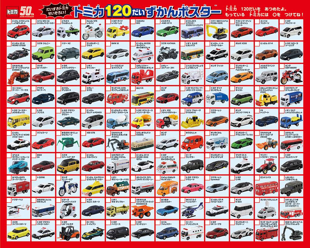 「トミカ120台図鑑ポスター」画像