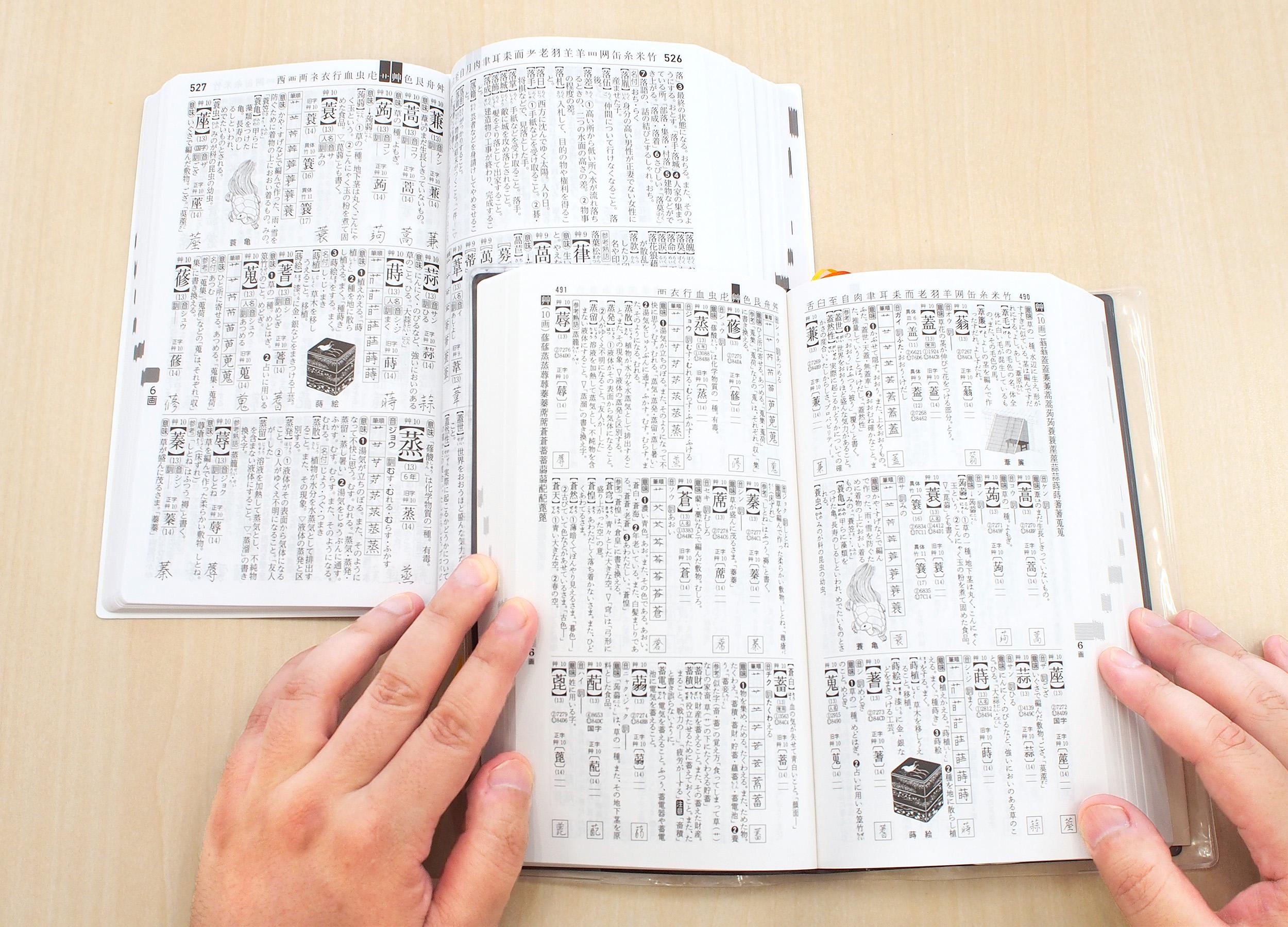 『常用漢和辞典』、第五版(上)、第四版(下)。字の大きさに注目 紙面
