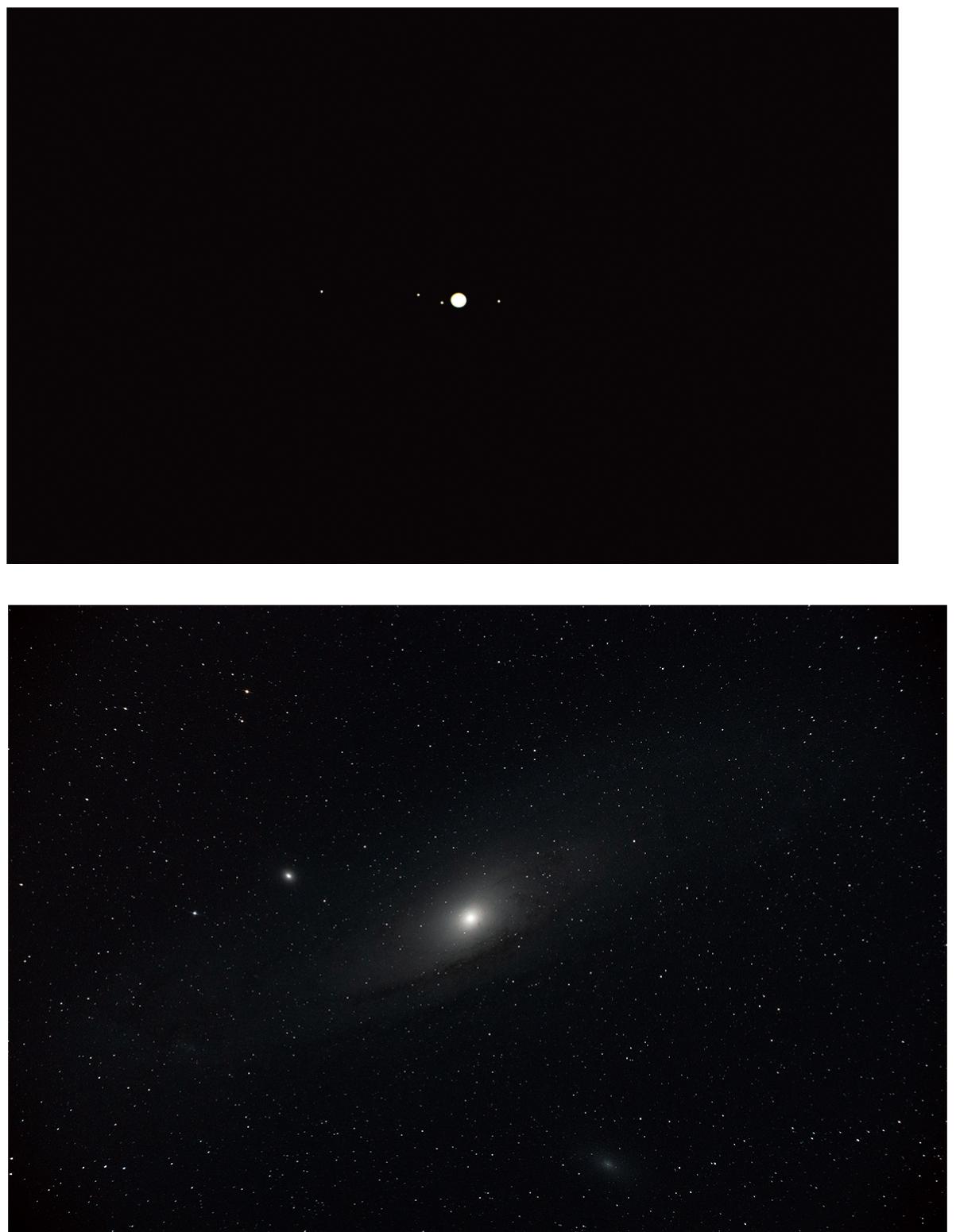 「望遠鏡ウルトラムーンで観察できる天体のイメージ。上:木星とその衛星 下:アンドロメダ銀河」画像