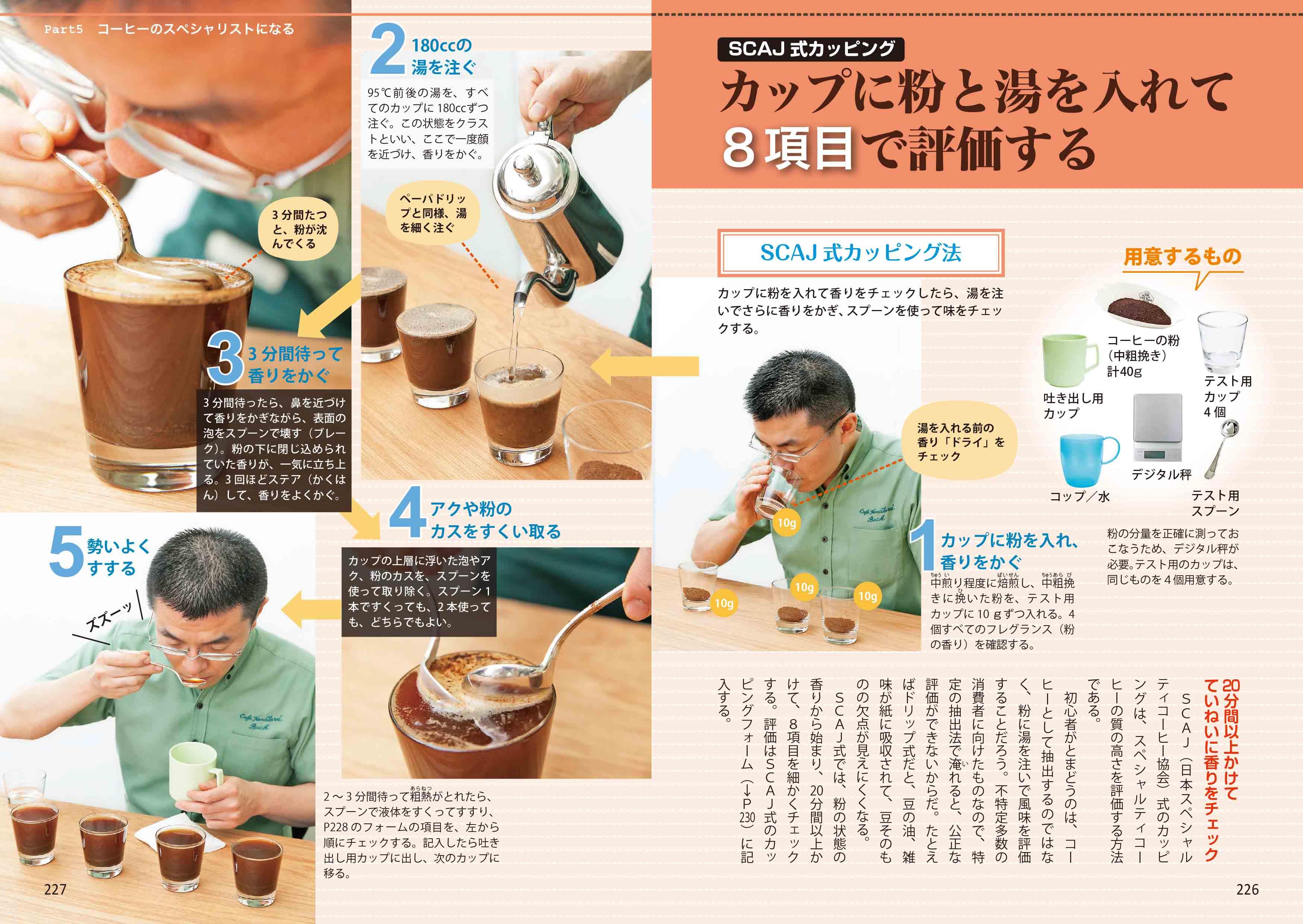 「SCAJ式カッピング カップに粉と湯を入れて8項目で評価する」紙面