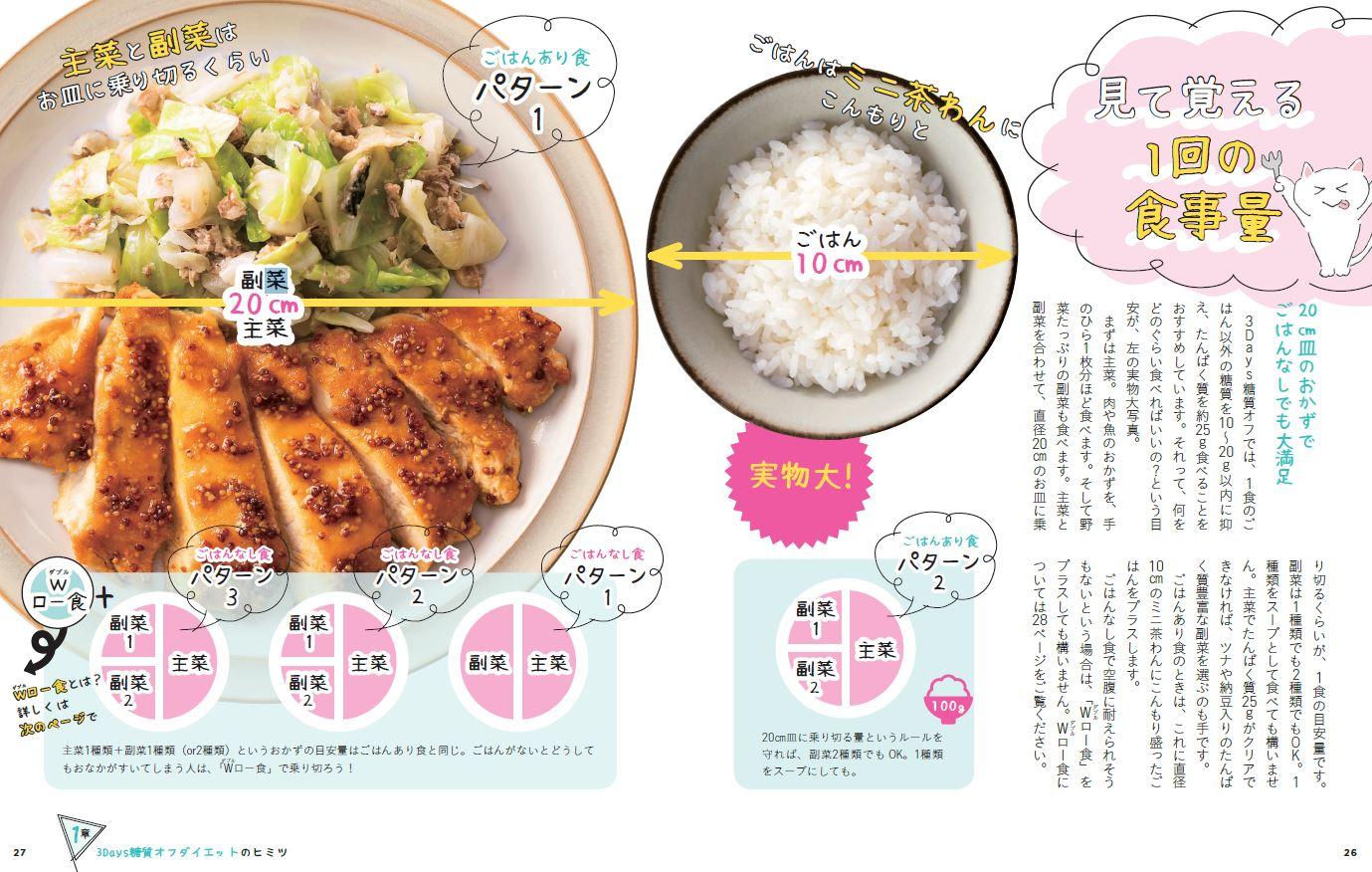「目安となるのは直径約20cmのプレート。ここに主菜と副菜に分けて乗せれば、それが 1食分。ごはんなら約10cmのお茶碗に大盛り」紙面