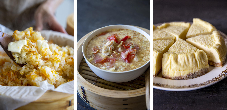 「にんじんのピラフ、鶏ささ身とトマトの卵スープ、蒸しチーズケーキ」画像