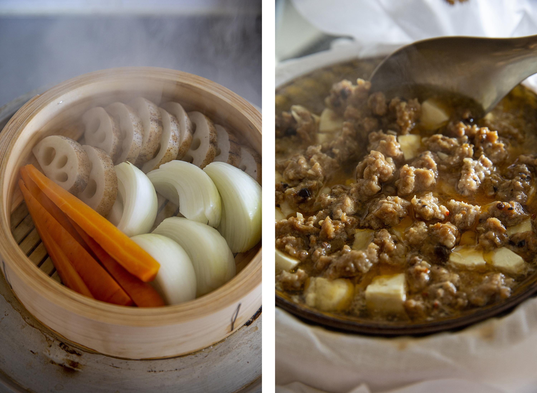 「根菜蒸し、蒸し麻婆豆腐」画像