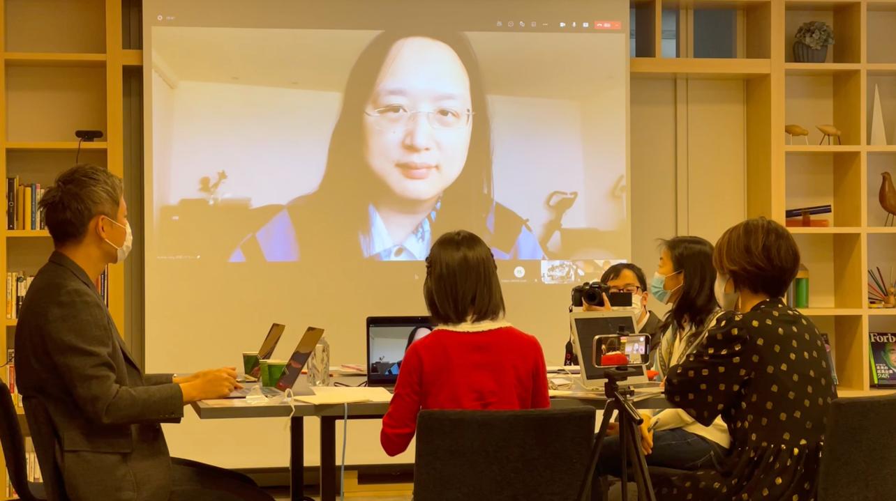 「台湾と日本をオンラインで結んで対談の様子」画像