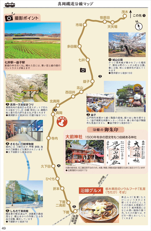 週末はSL「もおか」が走り抜ける「真岡鐵道」の沿線マップ