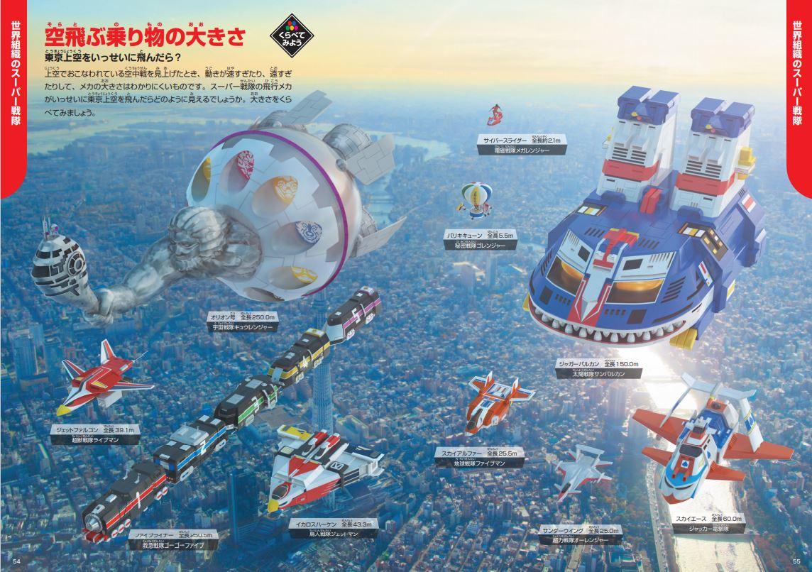 「現実かのようにスーパー戦隊の乗り物が東京上空を飛行する様子」紙面