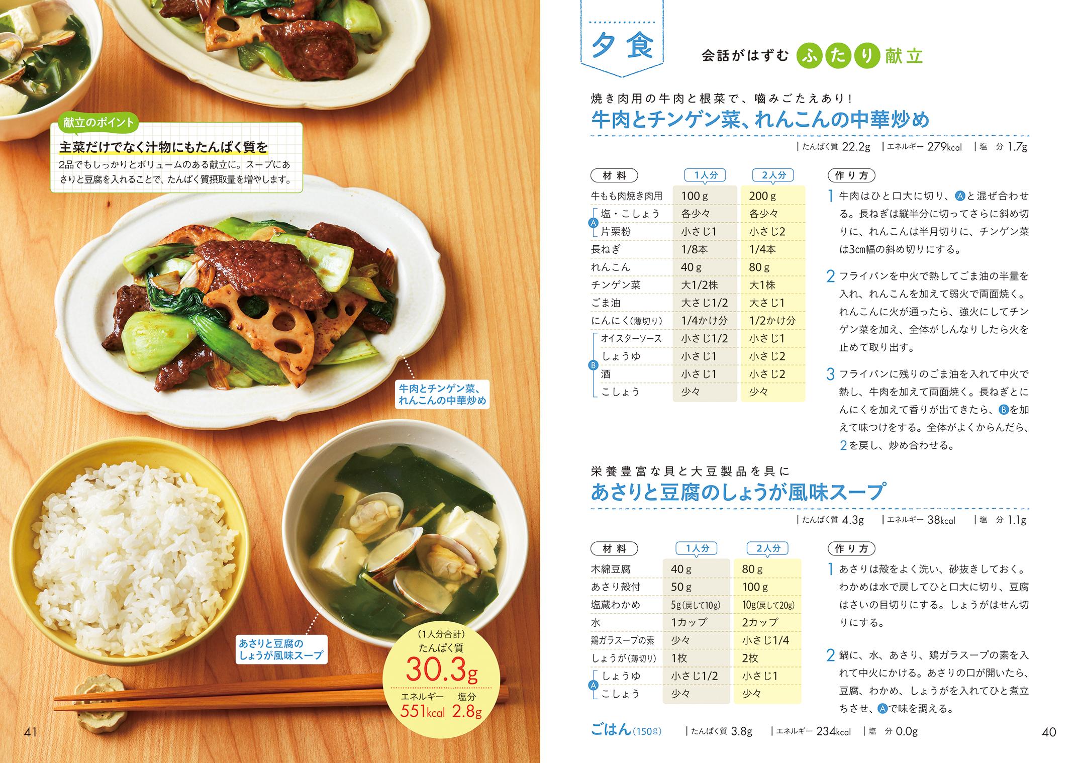 「1日に食べる量の目安がわかるよう、朝・昼・晩の献立例も紹介」紙面