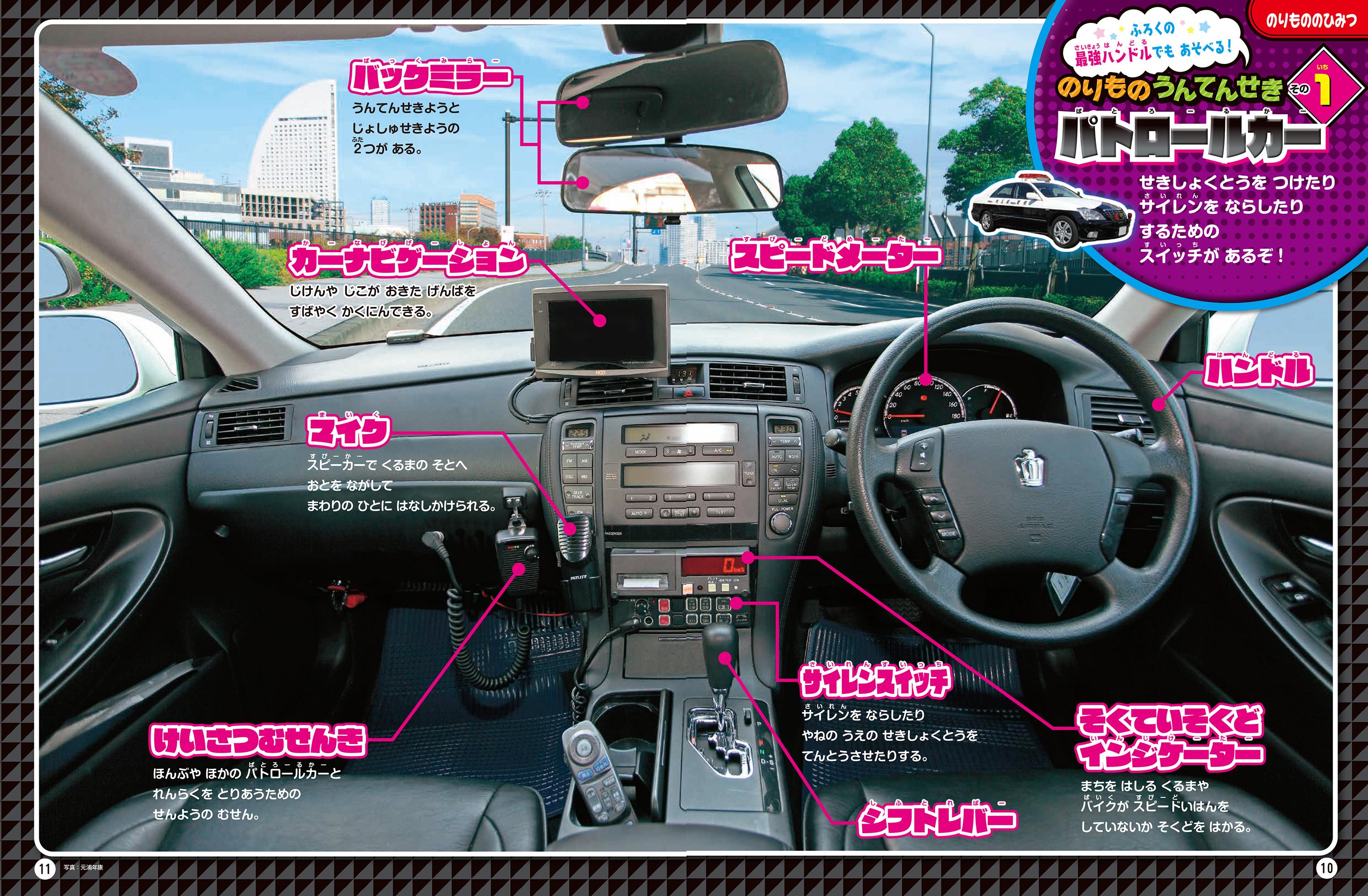 「パトロールカーの運転席」紙面