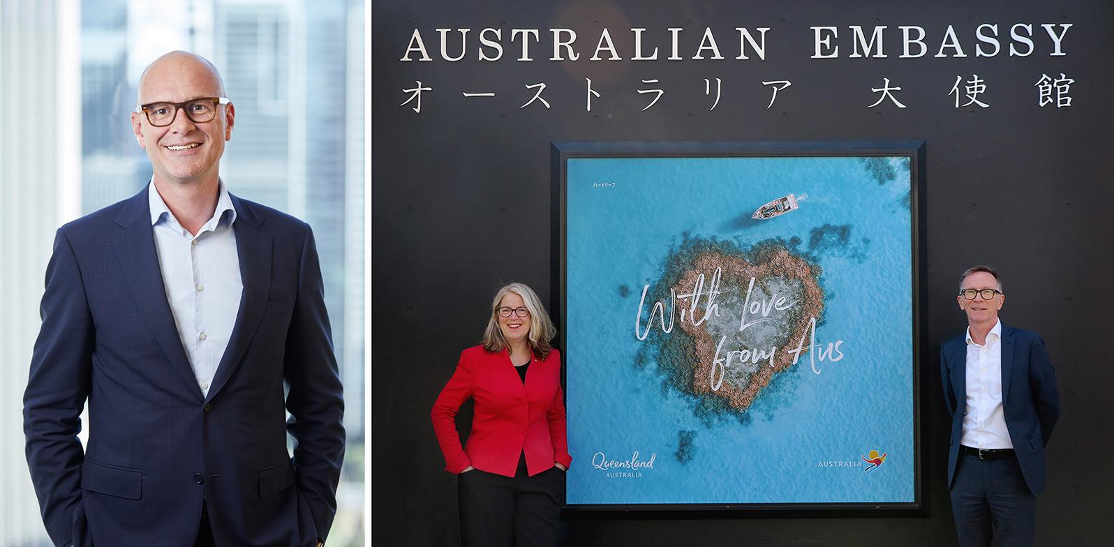 「オーストラリア政府観光局 アンドリュー・ホグ氏」と「With Love from Australia」画像